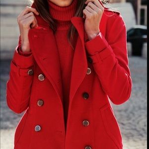 Stunning Red Double Breasted Wool Long Peacoat 6